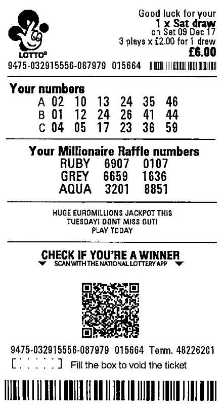 Ticket de tombola Lotto UK gagnant