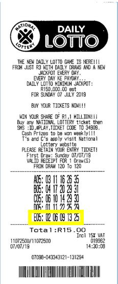 south africa daily lotto winning ticket